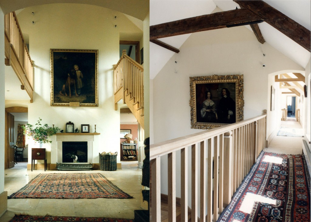 Entrance hall and entrance hall gallery, before and after
