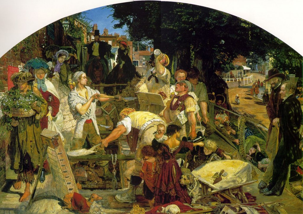 Ford Maddox Brown's Painting 'Work', showcasing Holly Cottage in the background