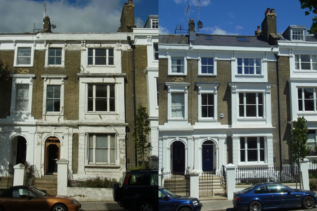 Front elevation, before and after