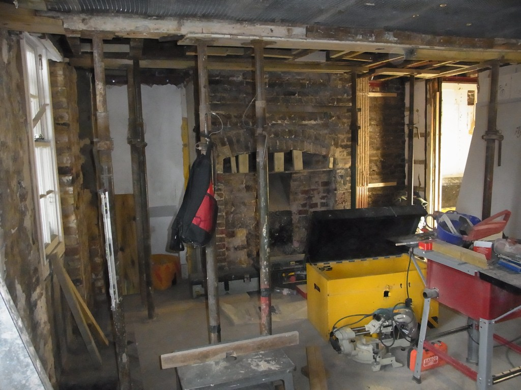 Ground floor front room, during structural repairs