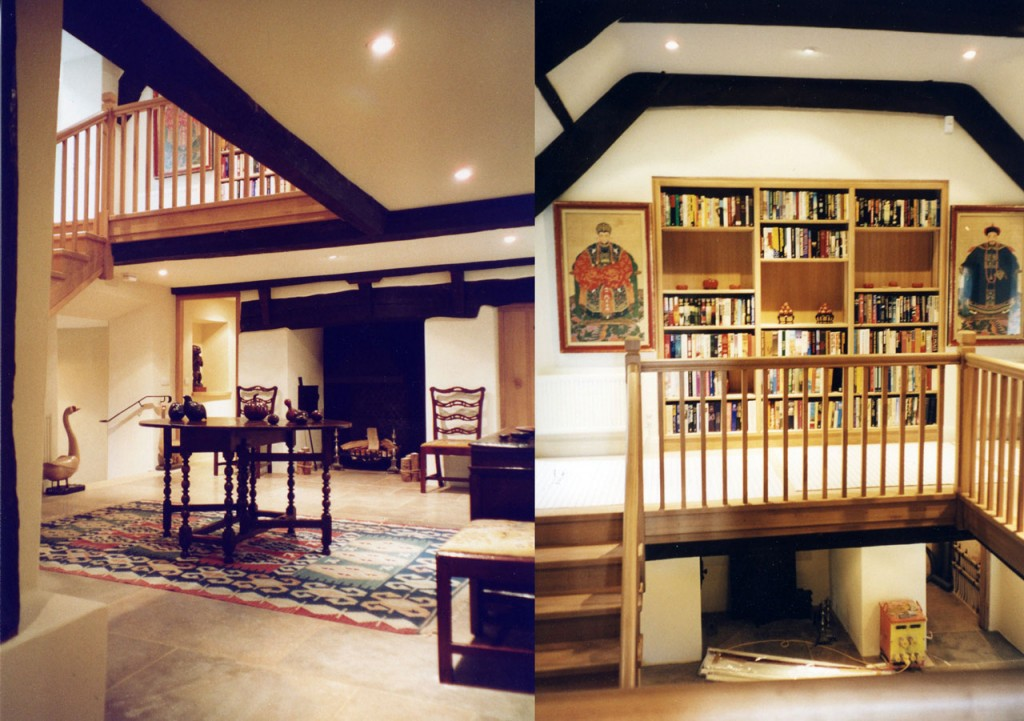 Staircase hall, before and after