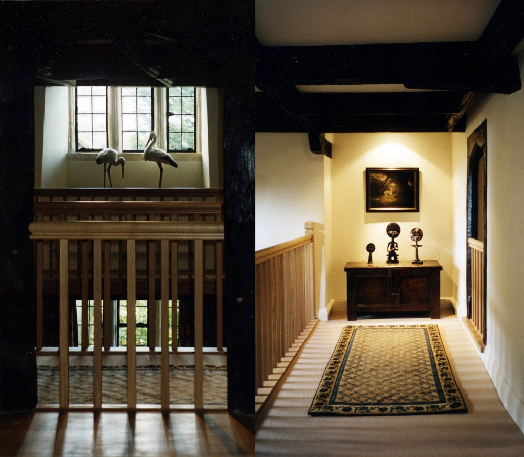 View from staircase hall to entrance hall, before and after