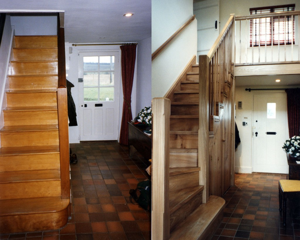 Entrance hall, before and after