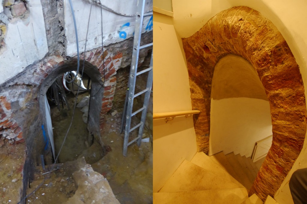 Basement-vault – discovery of an entrance arch, before and after