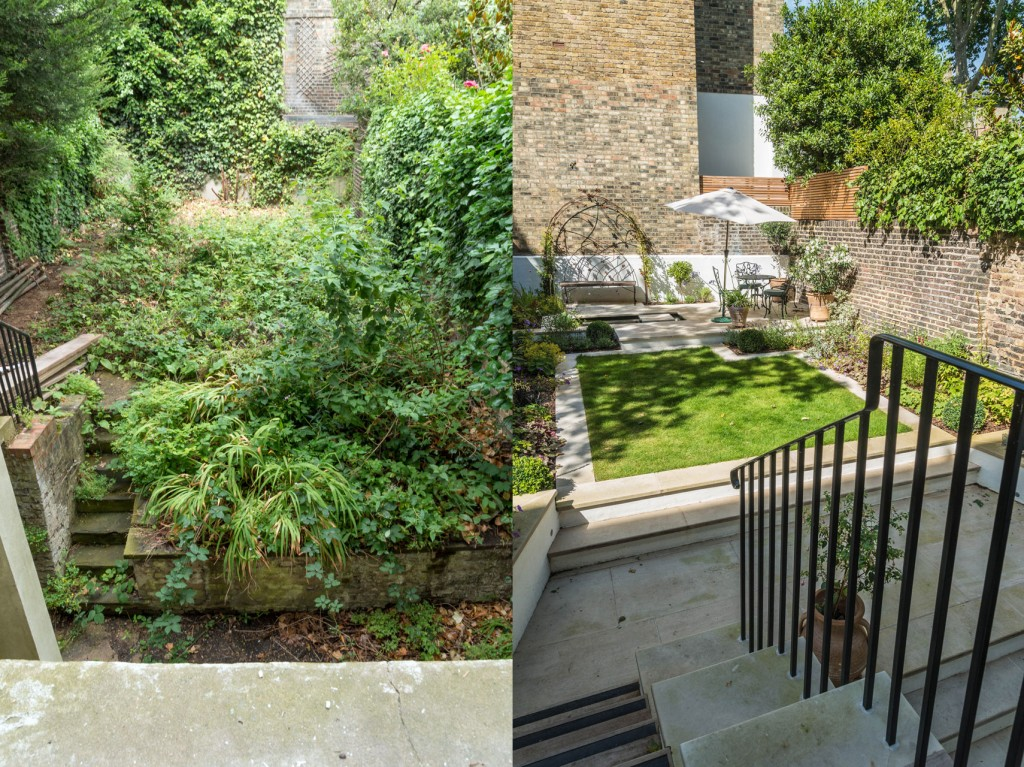 Garden, before and after
