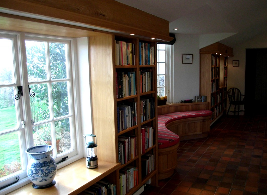 New bookcases in the lean to hall