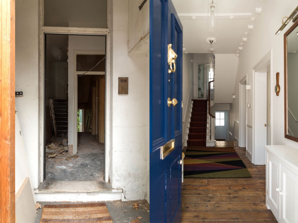 Front entrance, before and after