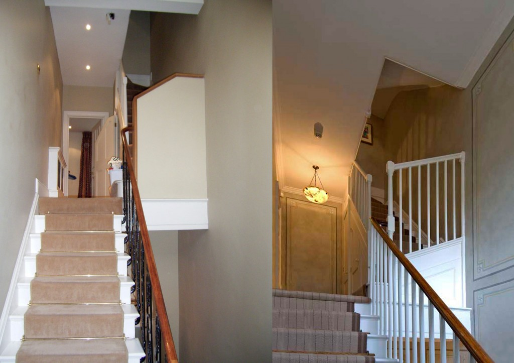 Staircase serving top floors, before and after