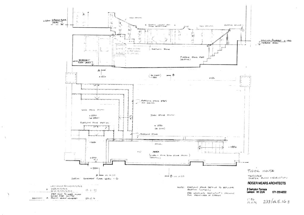 Drawing for rear terrace