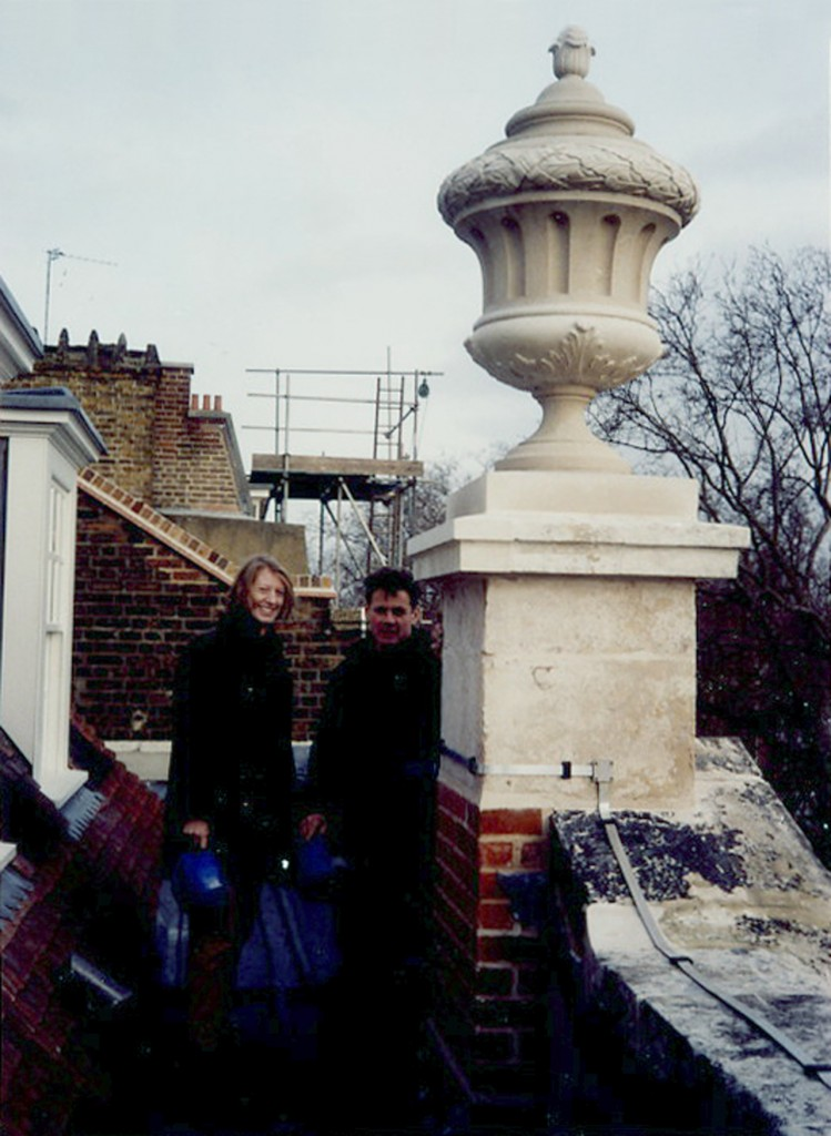 Urn on repaired plinth
