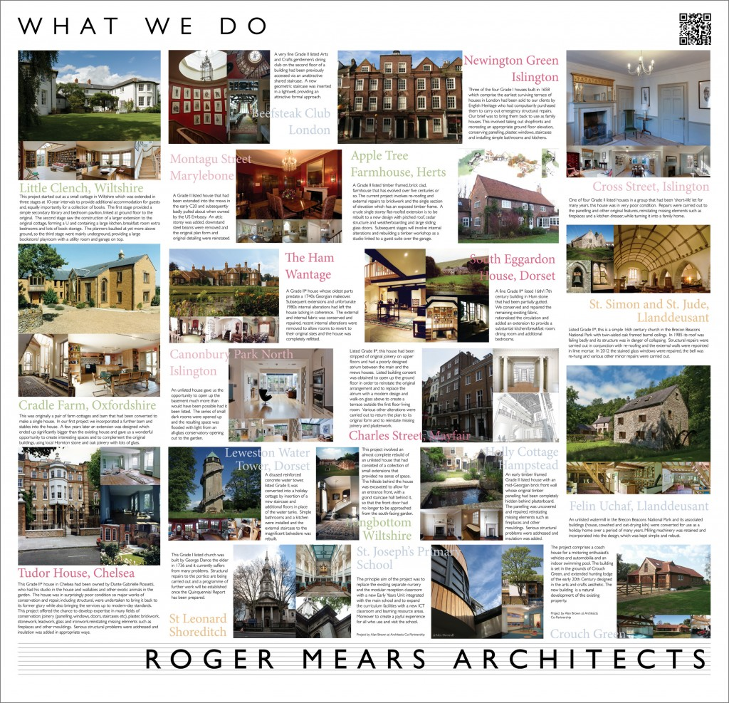 Roger Mears Architects exhibition board in detail - What we do