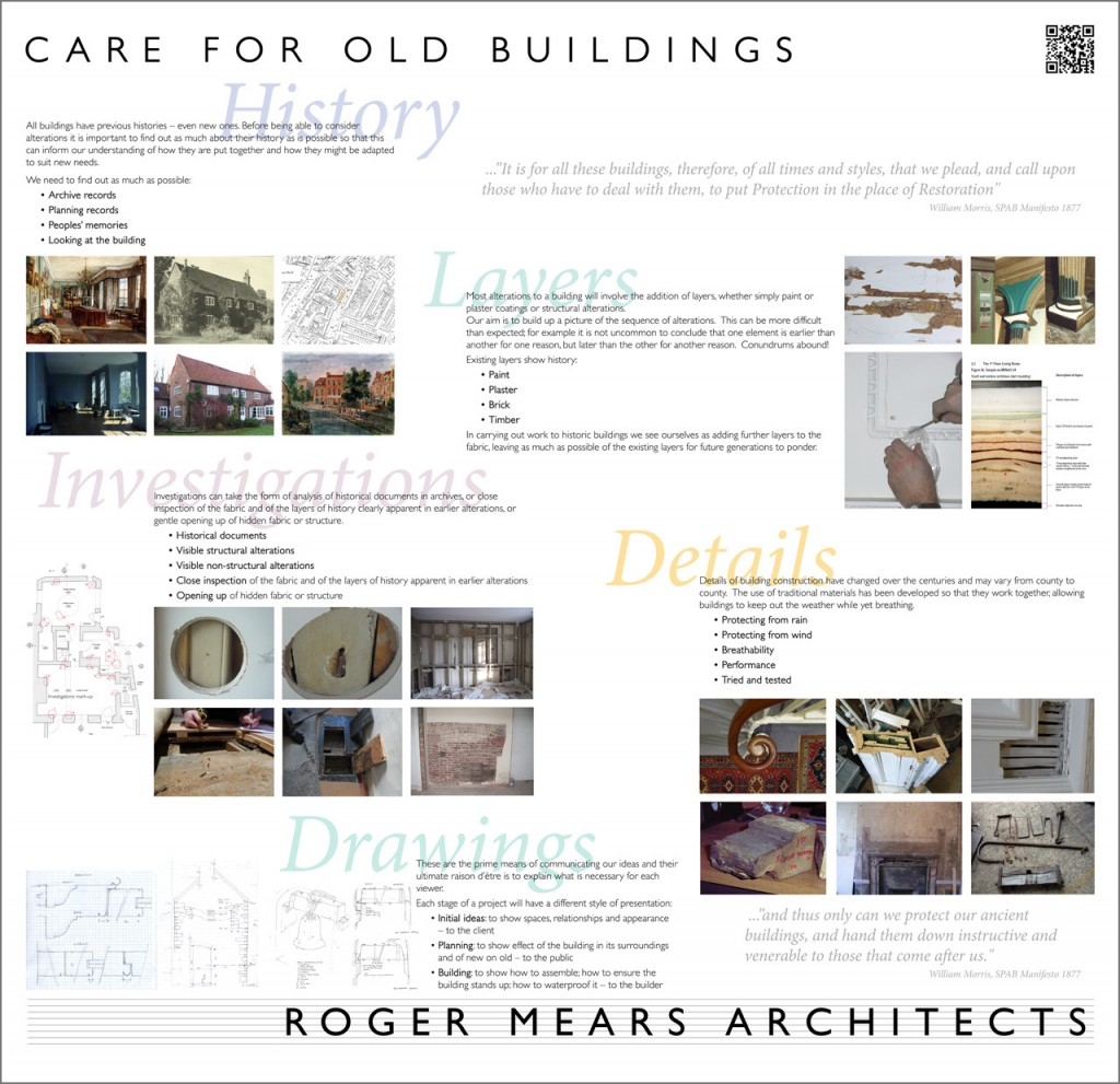 Roger Mears Architects exhibition board in detail - Care for Old Buildings
