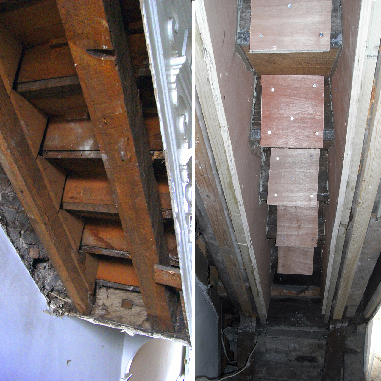 Staircase during before and after repairs