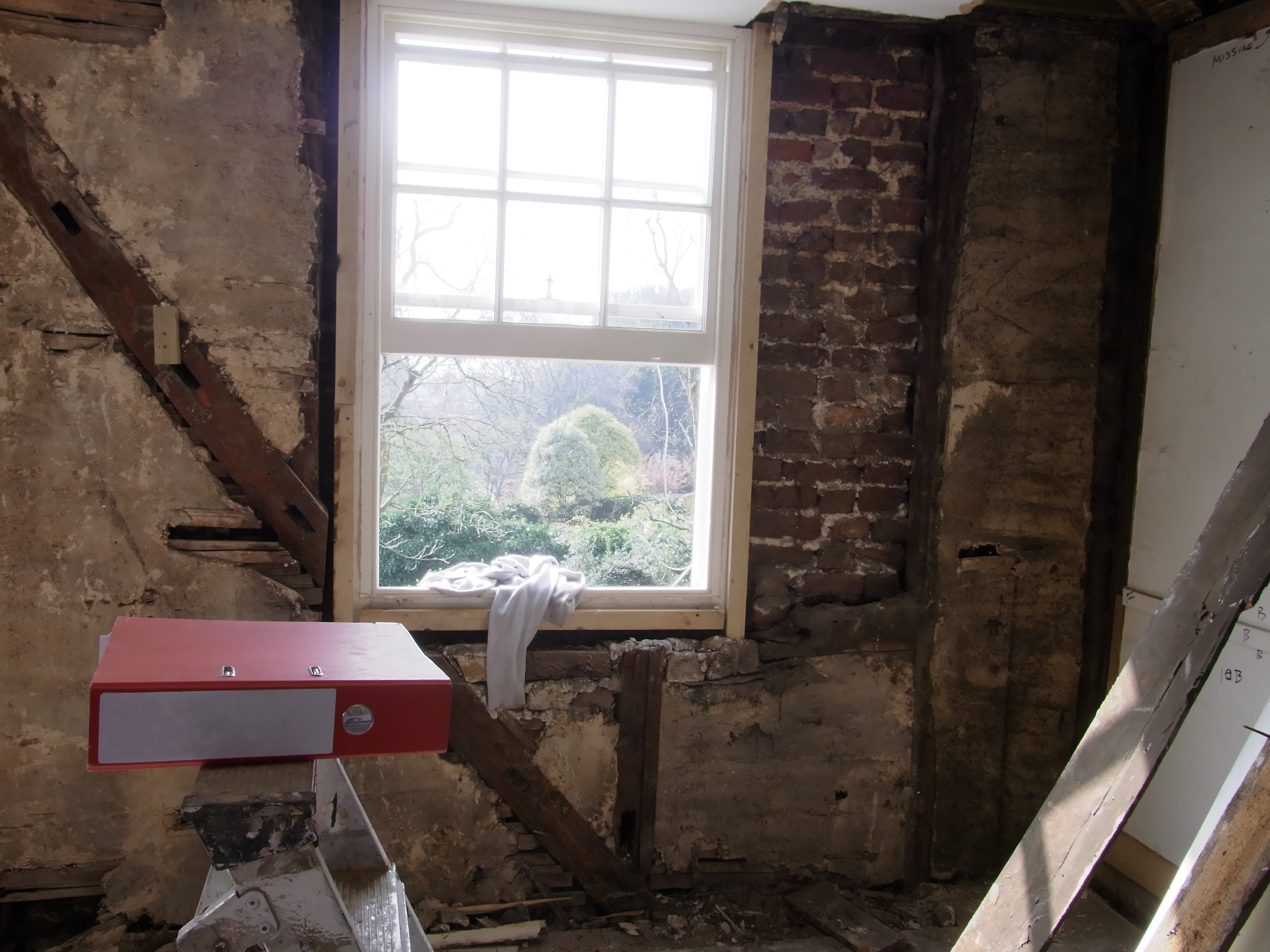 2nd floor panelling removed to reveal structural issues