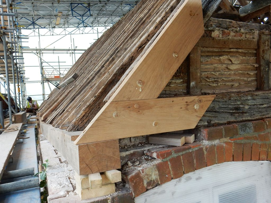 North side timber frame and roof during repairs