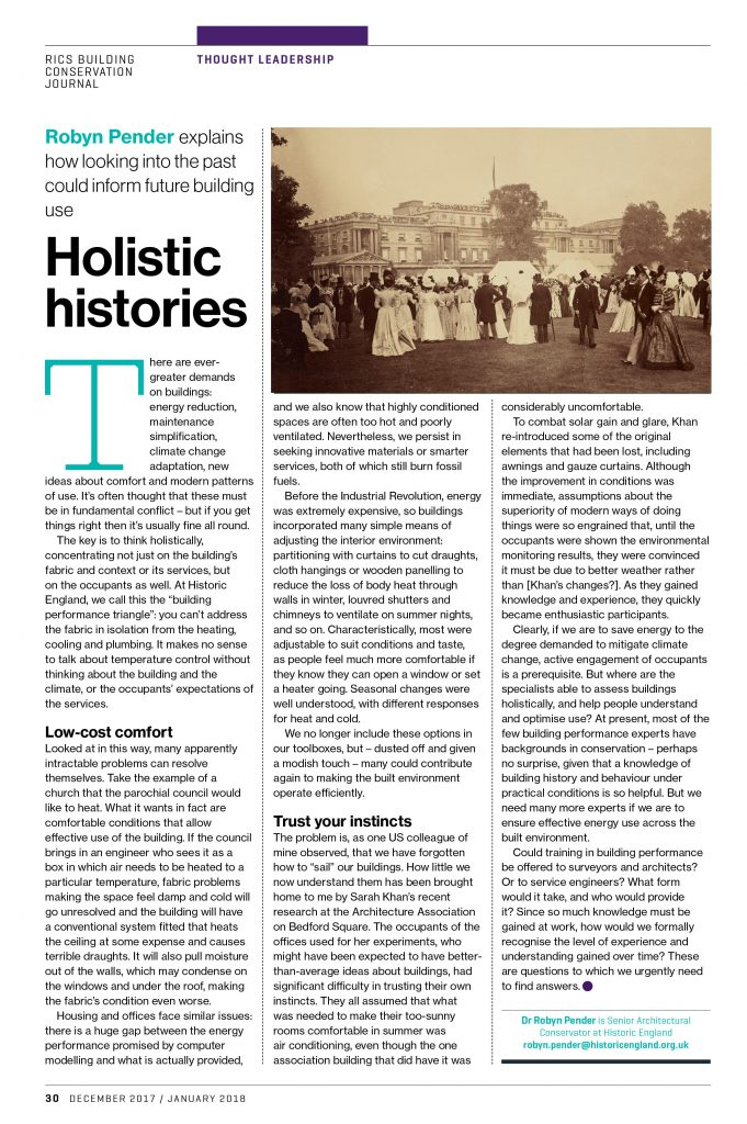 RICS Journal January 2017: Holistic Histories Article by Robyn Pender.