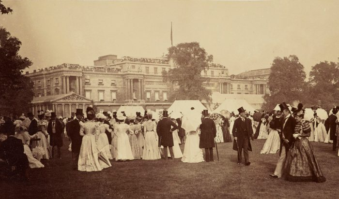 Queen Victoria's Diamond Jubilee Garden Party at Buckingham Palace. Showing external awnings on windows.