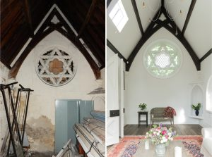 East Chapel, looking towards North - Before and After