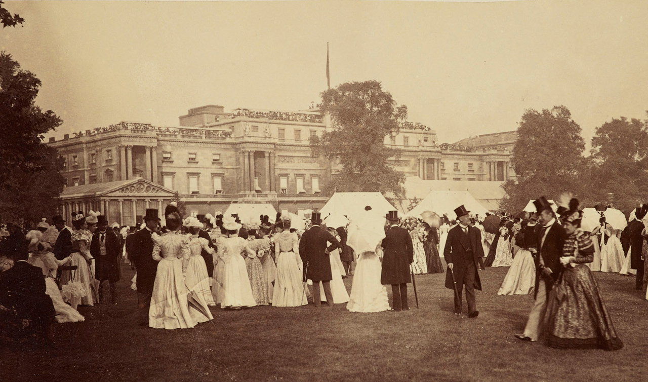 Photograph of Queen Victoria Diamond Jubilee Garden Party at Buckingham Palace, 1897, showing awnings drawn on windows